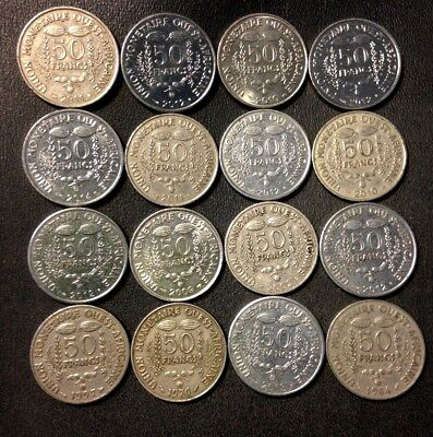 Old French West Africa Coin Lot - 50 Francs - 16 Great Exotic Coins - FREE SHIP