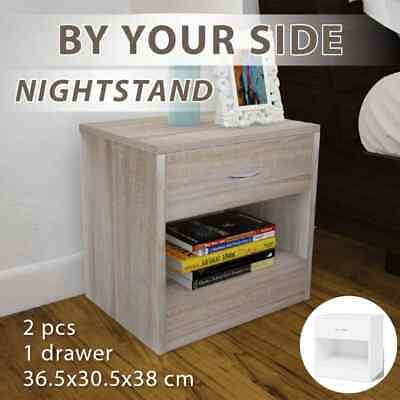 2 X Chipboard Bedside Tables w/ Drawer Nightstand Chest Cabinet Oak Colour/White