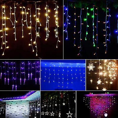 LED Icicle String Fairy Curtain Lights Christmas Wedding Party Waterfall Lamps