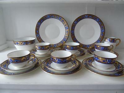 Rare Shelley Blue Swallows New York Bute Shape Cup C8190 22pcs Tea Set for Six