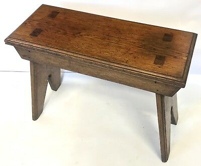 Antique Carved Oak Jointed Stool / Occasional Table / Lamp Stand V Shaped End