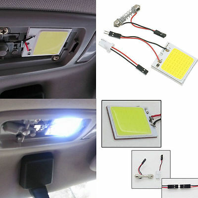 Premium 48 SMD COB LED T10 4W 12V Car Interior Panel Light Dome Lamp Bulb White