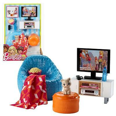 Barbie - Furniture Living Room - TV Corner, Armchair with Accessories