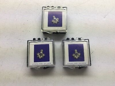 3 Vintage Masonic Compass And Square Sterling And Rhinestone Lapel Pins