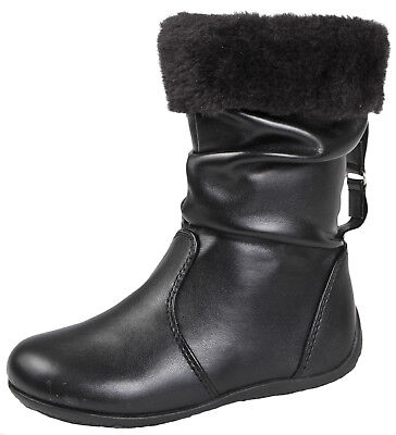 Girls Kids Mid Calf Slouch Fur Cuff Faux Leather Boots Ankle Black Shoes 6 - 12