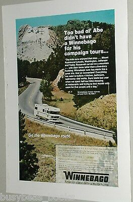 1972 WINNEBAGO Motor Home advertisement, driving by Mount Rushmore motor home ad