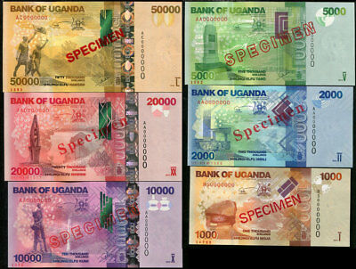 Uganda Set 5 Pcs 1000 5000 - 20000 500000 Shillings 2010-2014 Specimen P New Unc