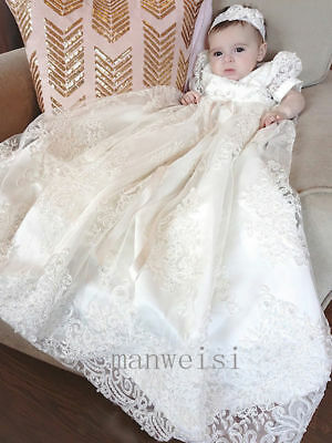 Vintage Baby Christening Gown Lace Applique Ivory Toddler Long Baptism Dresses
