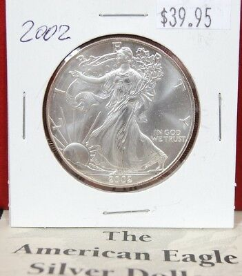 2002 Silver American Eagle BU 1 oz Coin US $1 Dollar Mint Uncirculated Brilliant
