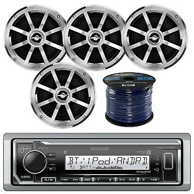 "Marine Bluetooth Radio, 4x Boat 6.5"" Silver Speaker, 50 FT 16-G Tinned Wire"