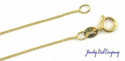 "14K Yellow Gold 0.8mm Round Wheat Chain 16"" B-020 Italian 1.1gr Italian"