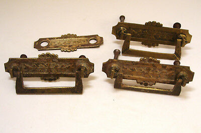 3 Antique Eastlake Cast Brass Drop Pull Handles with Screws