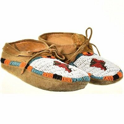 "Vintage Plains Indian Beaded Leather Moccasins 9.75"" Mens Womens c1950s/60s"