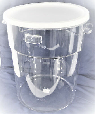Clear Transparent Storage Bucket Bin Polycarbonate PC w Cover 23L 6 Gallons