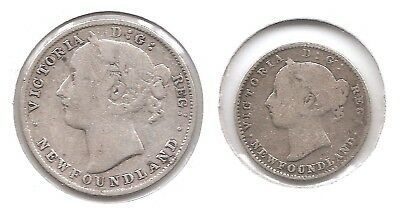 Newfoundland Lot of 2 Silver Coins 1896 10 & 20 Cents with Low Mintages