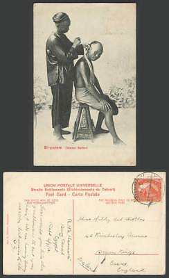 Singapore Chinese Barber Egypt TPO Travelling Post Office Ismailia 1913 Postcard