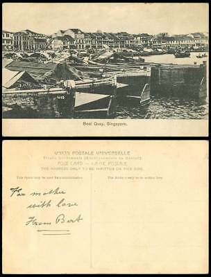 Singapore Old Postcard BOAT QUAY Harbour Sampans Native Boats A Boat with N.1185