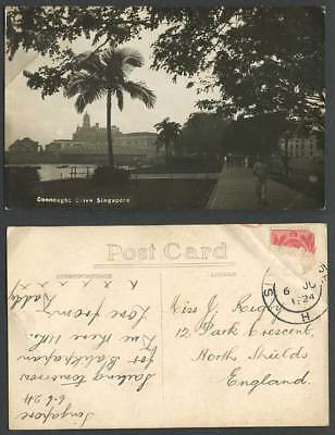 Singapore 1924 Old Real Photo Postcard Connought Connaught Drive Bridge & Street