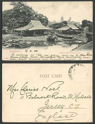 Singapore 1904 Old UB Postcard Chinese Boat Building Yard Boats Huts River Scene