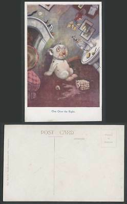 BONZO DOG GE Studdy Old Postcard One Over The Eight Drunk Puppy Vase Bottle 1061
