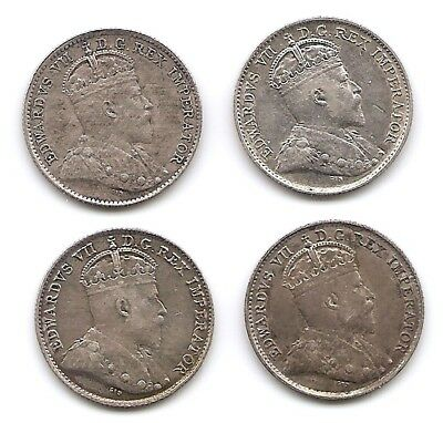 Canada Lot of 4 Silver 5 Cents Coins 1902, 1905, 1906 & 1910 King Edward VII