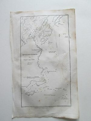 """1841 BLUNT'S CHART  """"PORTLAND HARBOUR"""" MAINE Chart is 4-1/4"""" wide by 8"""" tall."""