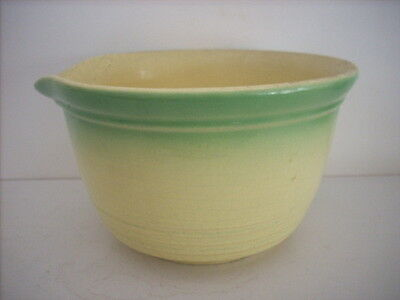 Large Vintage Green And Yellow Bakewells Coloured Mixing Bowl With Pouring Lip