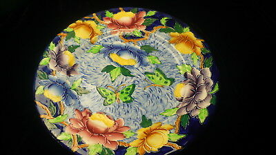 """Malling porcelain plate 6503E England floral 11"""" from 1948 Majolica butterfly"""