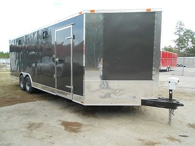 NEW 8.5 X 24 8.5X24 CUSTOM V-NOSED ENCLOSED CARGO TRAILER W/ Bathroom, LOADED!