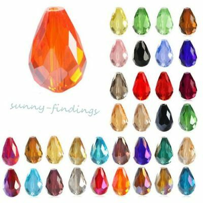 20Pcs Clear Faceted Teardrop Crystal Glass Loose Beads Spacer DIY Jewelry Making