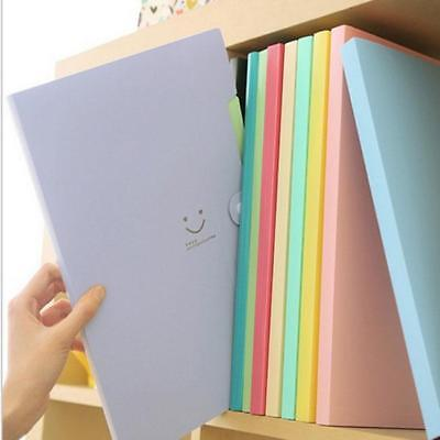6 Colors A4 Plastic Punched Pockets Folders Filing Envelope Paper Student New C