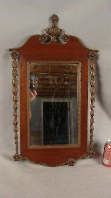 Antique 1890 Federal Carved Gilded Mahogany Wall Mirror W/ Urn Finial