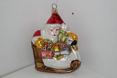 "Christopher Radko Glass 5.25"" Christmas Ornament-Santa On Swan Sleigh"