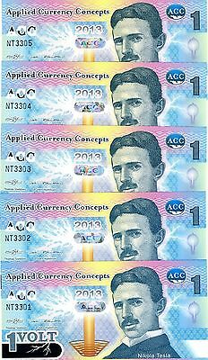 LOT ACC 5 x 1 Volt, 2013, Promotional / Advertizing Polymer, UNC > Nikola Tesla