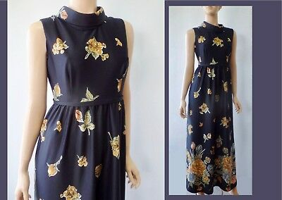 True Vintage Golden Floral Mod Retro 70s OOAK Sleeveless Pencil Max Dress XS