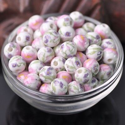 NEW 20pcs 10mm Round Smooth Ceramic Loose Spacer Beads Flower Pattern #6