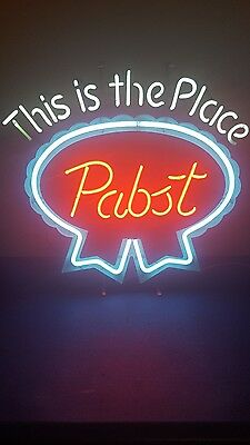 (VTG) 1980s Pabst beer this is the place neon light up sign bar Milwaukee rare