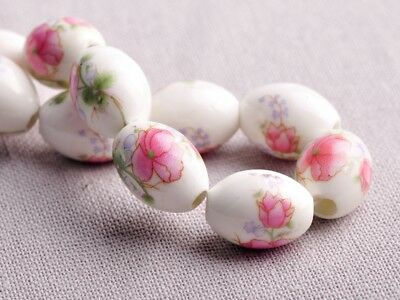 NEW 10pcs 15X10mm Oval Ceramic Spacer Findings Loose Beads Flowers Pattern #8