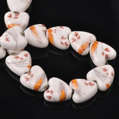 NEW 10pcs 14mm Ceramic Heart Flowers Loose Spacer Beads Findings Pattern #29