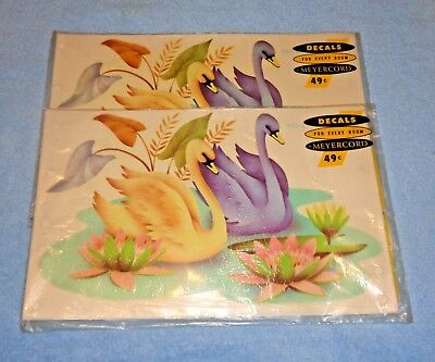 Set of 2 Packs Vintage Meyercord Decals- Swans in Water #932-A- NEW Unopened