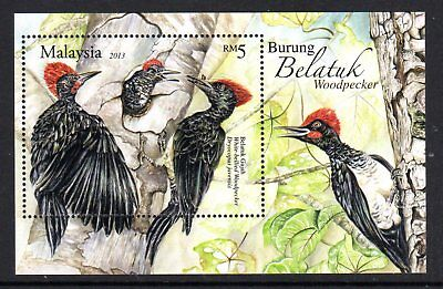 2013 MALAYSIA WOODPECKERS BIRDS minisheet mint unhinged