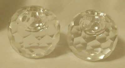 Pair Of Faceted Crystal Round Ball Spherical Candlestick Holders, Heavy Gorgeou