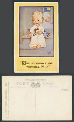 MABEL LUCIE ATTWELL Old Postcard Nobody Knows The Trouble I'm In Stairs Bed 1313