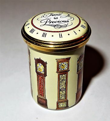 "Halcyon Days English Enamel Box - ""time Is Precious"" & Grandfather Clocks"