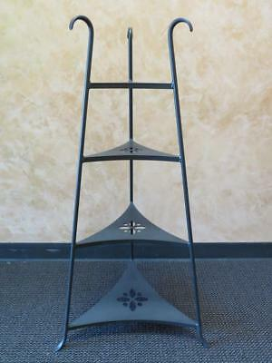 "Longaberger 4-Tier Wrought Iron Bowl Stand Shelves Cut Out Design 41"" H"