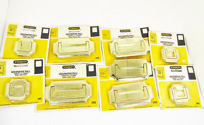 Vtg Nos Brass Recessed Flush Hardware Handle Drawer Pull In Package Lot Of 9