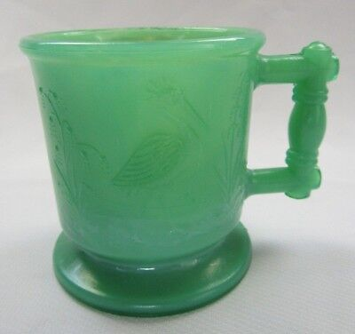 Boyd  Glass Child`s Mug Cup Stork & Peacock  (Dark Pippin Green) First Five Yrs