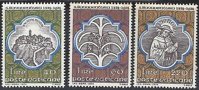 1974 Vatican Set of 3 7th centenary of San Bonaventure's death MNH