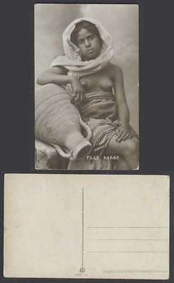 Egypt Old Real Photo Postcard Fille Arabe A Native Arab Woman Lady Girl, Pitcher
