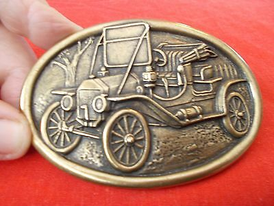 Old Car Mens Belt Buckle By Avon, Oval Shape And Brass Color, Beautiful !